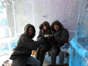 En el bar de hielo; ¡qué frío!
