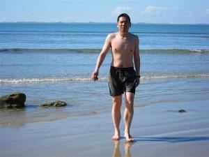 Sólo Rum se atrevió a bañarse en el mar