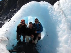 Los tres en el glaciar