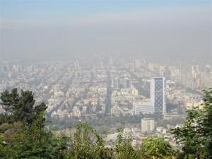 """""""Smog"""" sobre Santiago, vista desde San Cristóbal"""