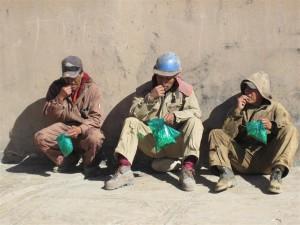 Mineros mascando coca