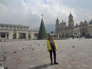 Plaza en el centro de Bogotá (ambiente navideño)