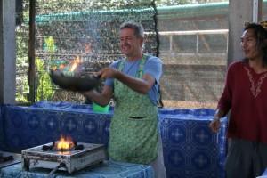 El cocinero thai en acción