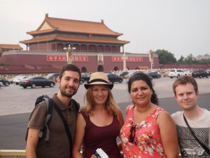En Tian'anmen, con la Ciudad Prohibida al fondo